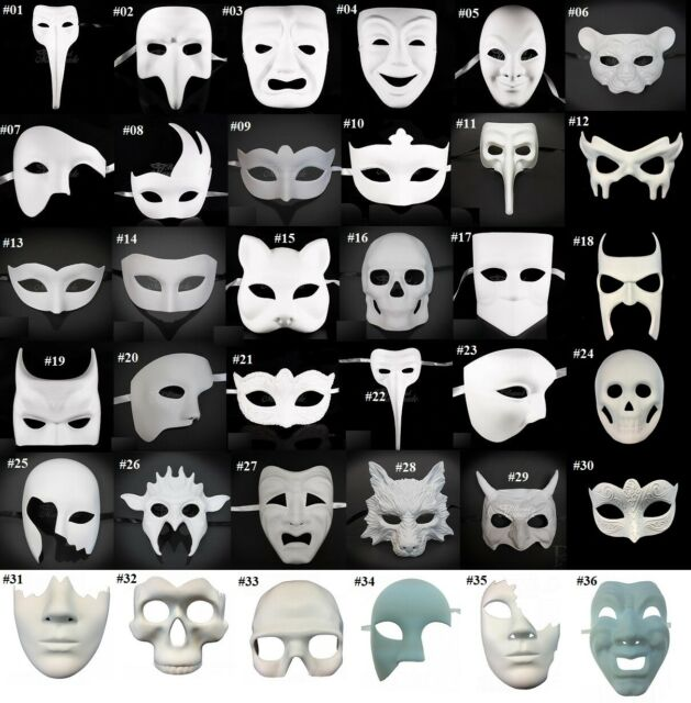 Blank Unpainted White DIY Masquerade Mask Halloween Party Mask Base Poly Resin