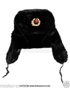 RUSSIAN SOVIET USSR ARMY FUR HAT + BADGE CLASSIC BLACK USHANKA COLD ... 897095dd7f8