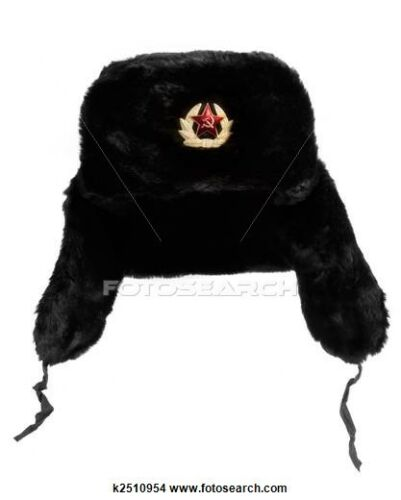 RUSSIAN SOVIET USSR ARMY FUR HAT BADGE CLASSIC BLACK USHANKA COLD WAR SIZE 59