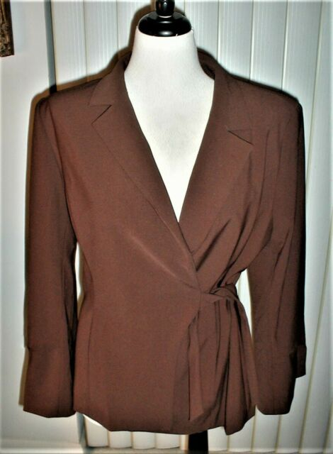 NWT RANDOLPH DUKE THE LOOK JACKET WRAP STYLE CHOCOLATE BROWN LINED 16