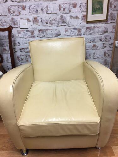 Modern Vintage Retro Art Deco Style Cream Leather Club Arm Chair