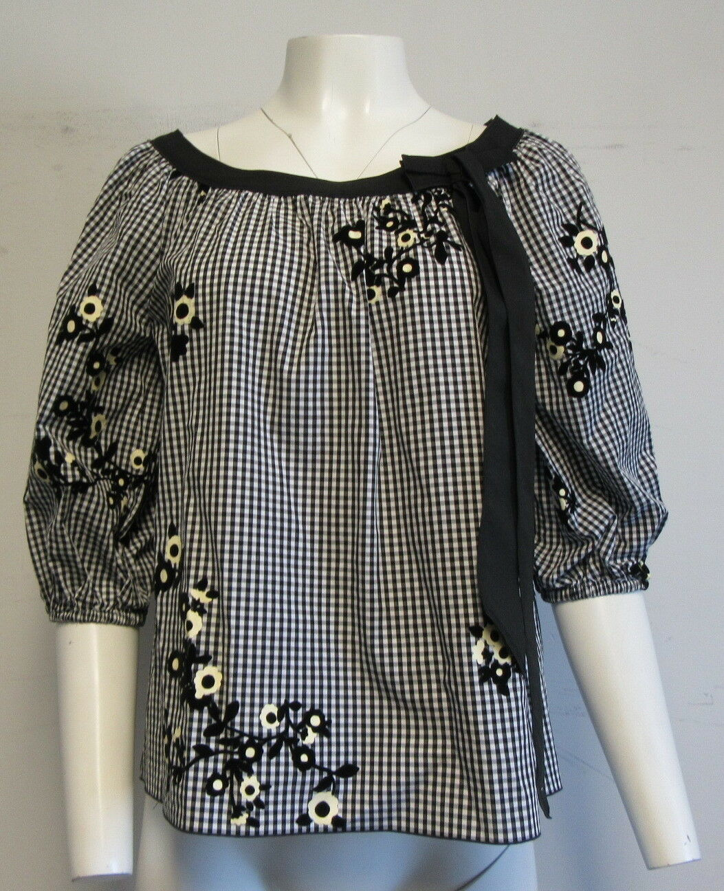 MARC JACOBS schwarz Weiß floral gingham blouse with bow SZ 6