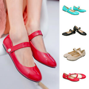 Women-Patent-leather-Round-Toe-Ballet-Flats-Comfort-Ankle-Strap-Mary-Jane-Shoes