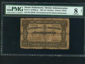 Straits-Settlements-P-3-5-Dollars-1901-RARE-PMG-VG-8-NET