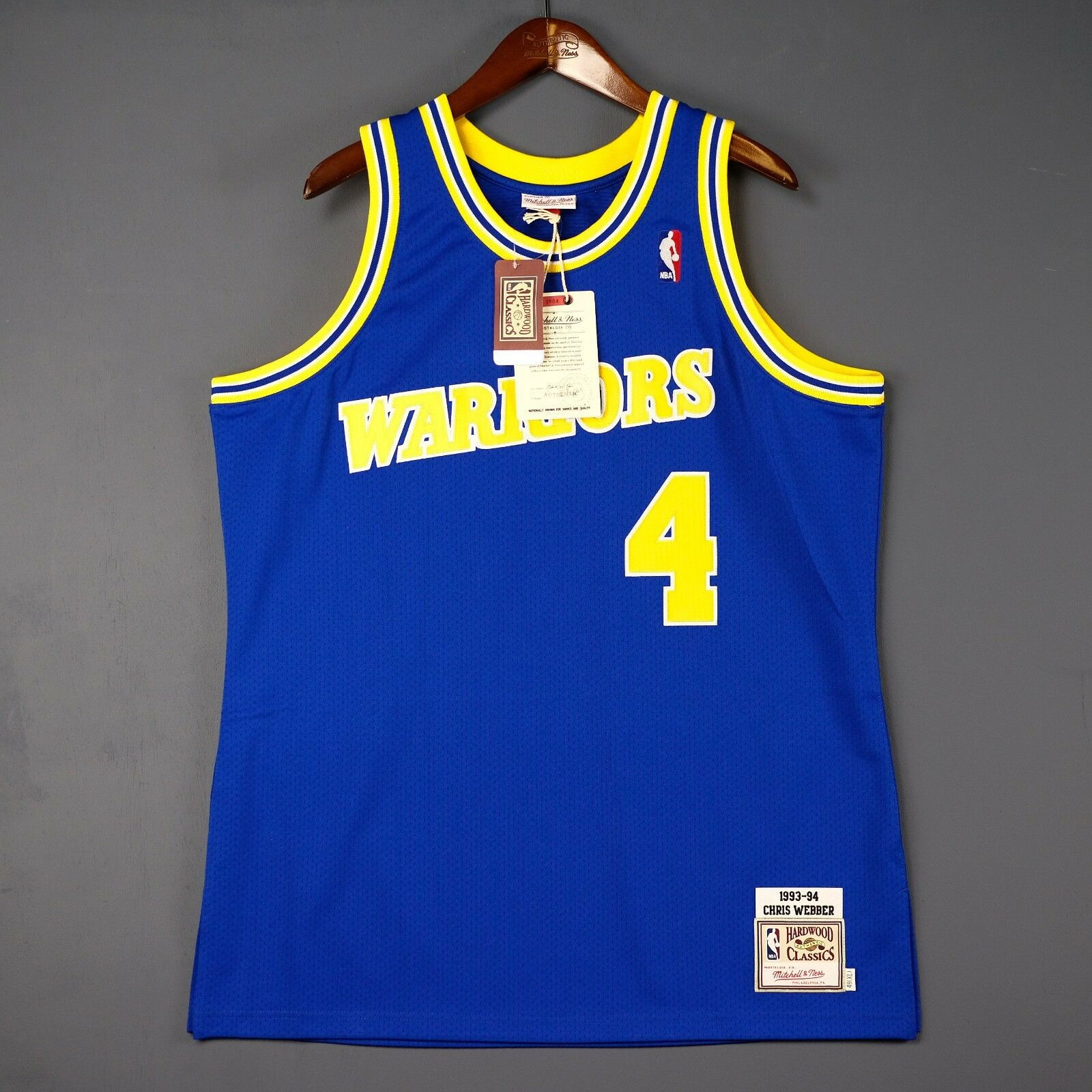 100% Auténtico Chris Webber Mitchell & & & Ness 93 94 Warriors Camiseta Talla 48 XL 84769a