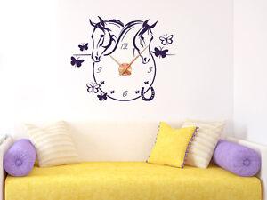 wandtattoo uhr wanduhr mit uhrwerk f r m dchenzimmer pferde schmetterlinge ebay. Black Bedroom Furniture Sets. Home Design Ideas