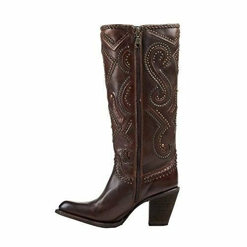 CORRAL Women's Brown Studded and Whip Stitched Round Toe Cowgirl Boots C2906