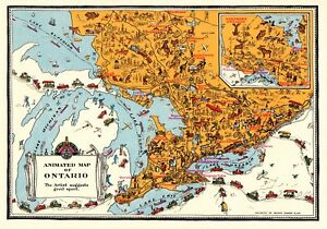 Onterio Canada Map.C1930 Antique Ontario Canada Map Vintage Animated Cartoon Map Of