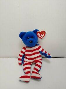 TY Beanie Baby - LIBERTY the Bear (Blue Head Version)