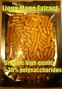 Lions-mane-13-1-Extract-100-Caps-Organic-high-quality-gt-30-polysaccharides