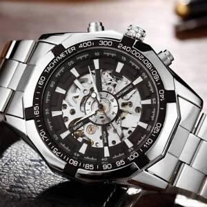 Mens Classic Transparent Luminous Skeleton Mechanical Steel Sport Wrist Watch