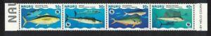 Nauru WWF pesci GIGANTI striscia di 4v 1997 Gomma integra, non linguellato SG#458-461 MI#437-440 SC#443 A-D