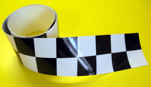 CAFE RACER /'Double/' CHEQUERED TAPE sticker 1220x30mm 2 LENGTHS!