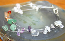3-Strand Mixed Stone Chip Crystal Gemstone Bracelet Reiki Blessed 19cm Gift Bag