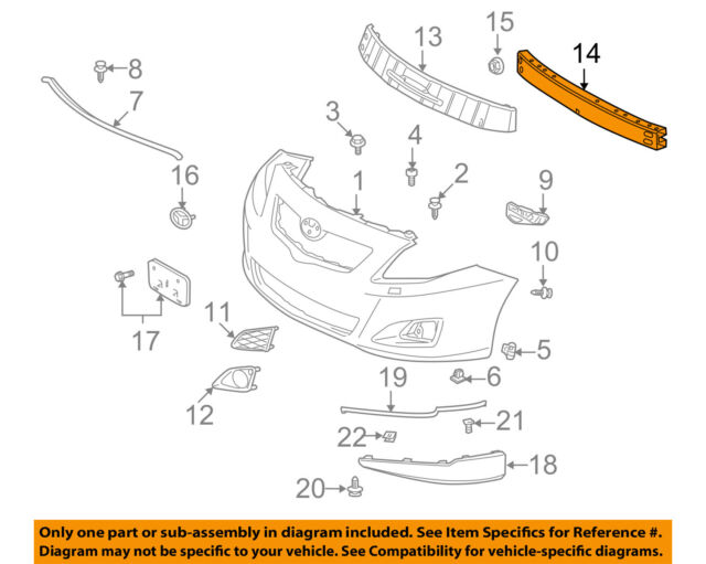 NEW TOYOTA COROLLA FITS 09-13 FRONT REINFORCEMENT USA BUILT TO1025103 5202102151
