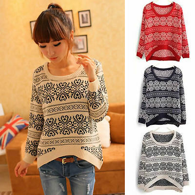 Womens Totem Pullover Knitwear Tops Coat Long Sleeve Knited Round Neck Sweater
