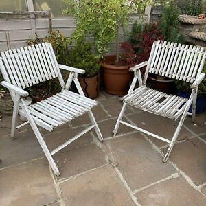 Details about Vintage Painted Wooden Folding Garden Chairs Seats Shabby Chic