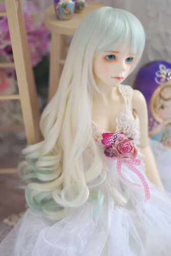 King/'s shop WIG long curl bjd SD 8-9 size for 1//3 doll light green+blonde