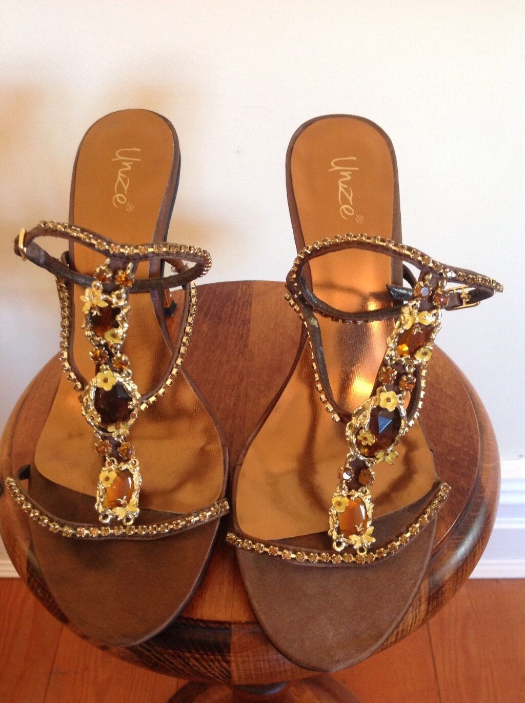 UNZE WOMENS STILETTO SHOES UK 6 BROWN GOLD AMBER  DIAMONTE SEXY GLAM