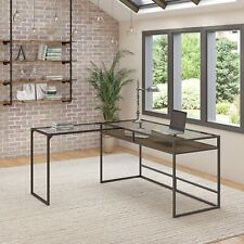 Bush Furniture Anthropology 60w Glass Top L Shaped Desk With Shelf In Rustic Bro