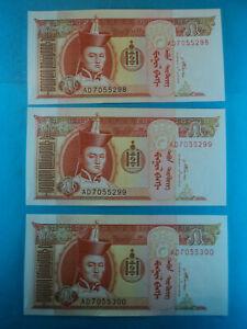 3 Billetes 5 Tugrik , 2008 , Mongolia , P-61b . S/c-unc. Blanc De Jade
