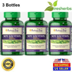 3Pcs SOY LECITHIN 1325mg 300 Softgels Soya Bean Liver Support Detox