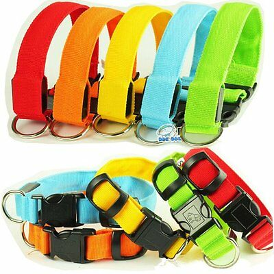 LED Dog Collar Night Safety Pet Flashing Light Adjustable Nylon Collar Leash