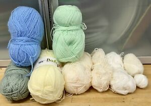 Lot-475g-Of-Whites-Light-Colour-Knitting-Yarn-Double-Knitting-Craft-Old-Stock-Z2