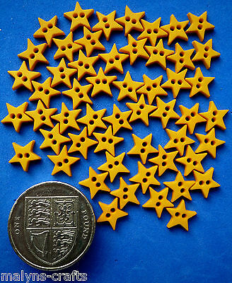 MIXED SHADES - MICRO MINI YELLOW STARS Craft Buttons 1ST CLASS POST Doll Clothes