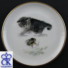 Porzellan Untersetzer Katze mit Hummel Kämmer Thüringen 9944090