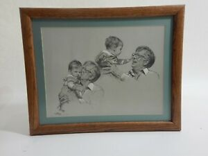 1987-Matted-Framed-Charcoal-Drawing-Grandfather-and-Grandson-20-034-x-16-034