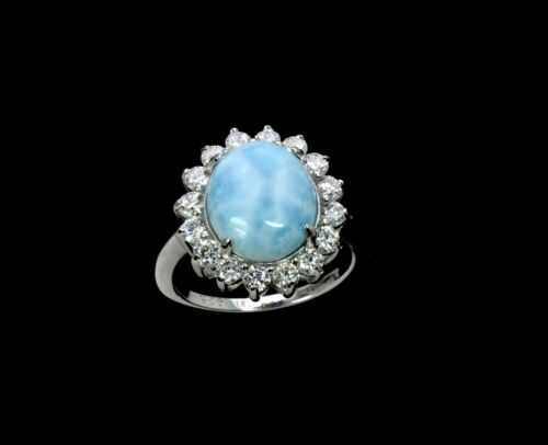 Larimar belle 10X12mm AAA Natural Solid .925 Sterling Silver Ring Taille 9