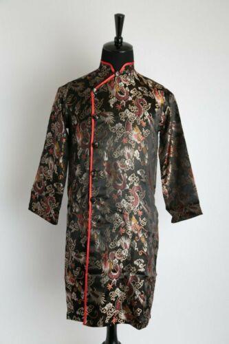 Vietnamese Traditional Dress for Men Ao Dai Nam Cach Tan Black Gam w Dragons
