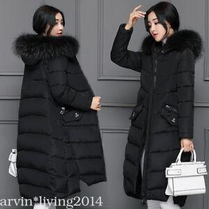 cee067deefc New Winter coat jacket womens fur Hood coat down long ladies puffer ...