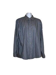 ROBERT-GRAHAM-Striped-Flip-Cuff-Plaid-Check-Shirt-Classic-Fit-Sz-XL-Blue-Brown