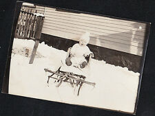 Vintage Antique Photograph Adorable Little Baby Sitting on Sled in the Snow