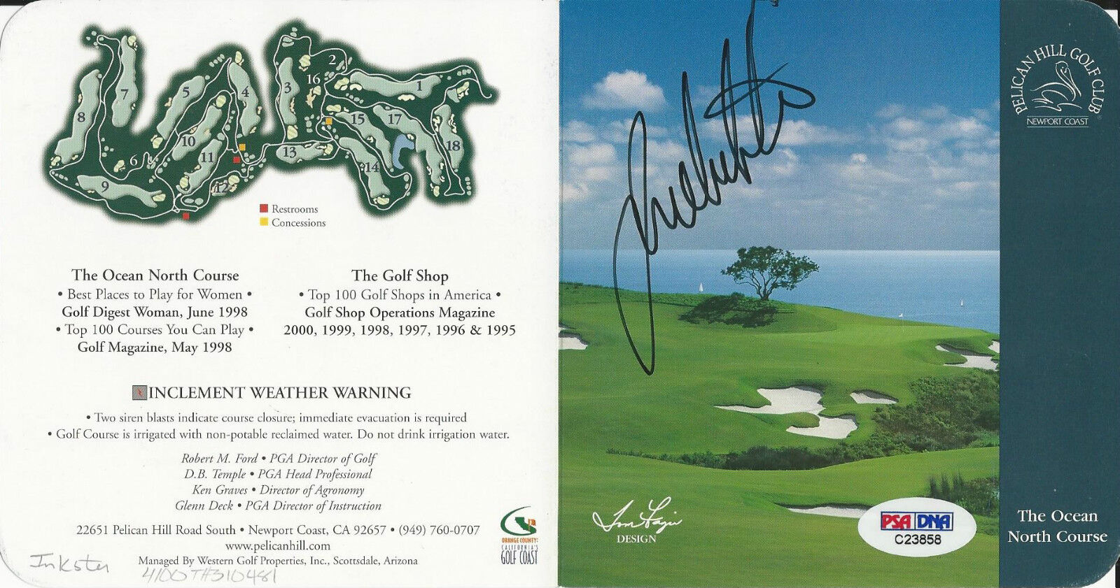 Joe Inkster Signed Pelican Hill Golf Club Score Card PSA/DNA # C23858