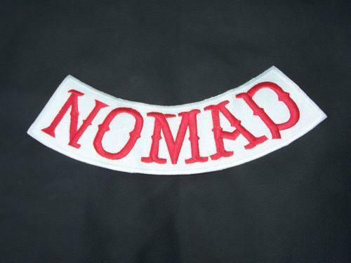 Rot Nomad Patch Bottom Rocker Outlaw Mc Club Gruppe Gang Flicken Abzeichen Neu
