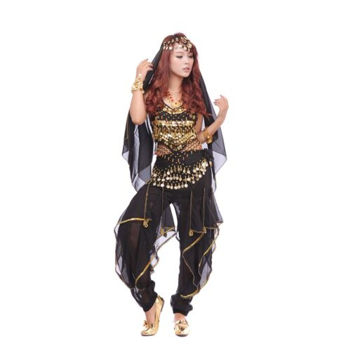 Belly Dance Costume Set Bra Top /& Tribal Gold Wavy Harem Pants Skirt Belt NEW