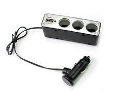 3 WAY DC12/24V MULTI SOCKET CAR CIGARETTE LIGHTER SPLITTER USB PLUG CHARGER UK