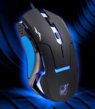 USB Wired Gaming Mouse Blue Black UK 2400DPI T7 Optical Luminous