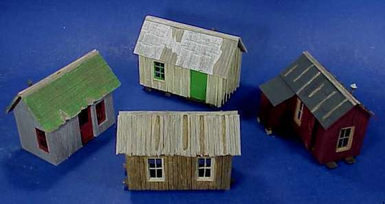 O SCALE  On3 On30 WISEMAN MODEL SERVICES LOGGING OR MINING CAMP 4 CABIN SET KIT