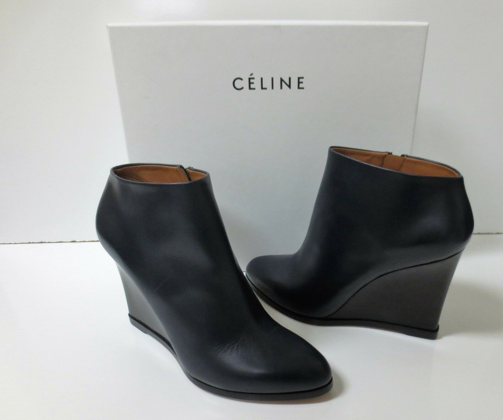 CELINE Navy Leather and Black Wedge Ankle Boots Shoes Sz 38.5 NEW IN BOX $1100