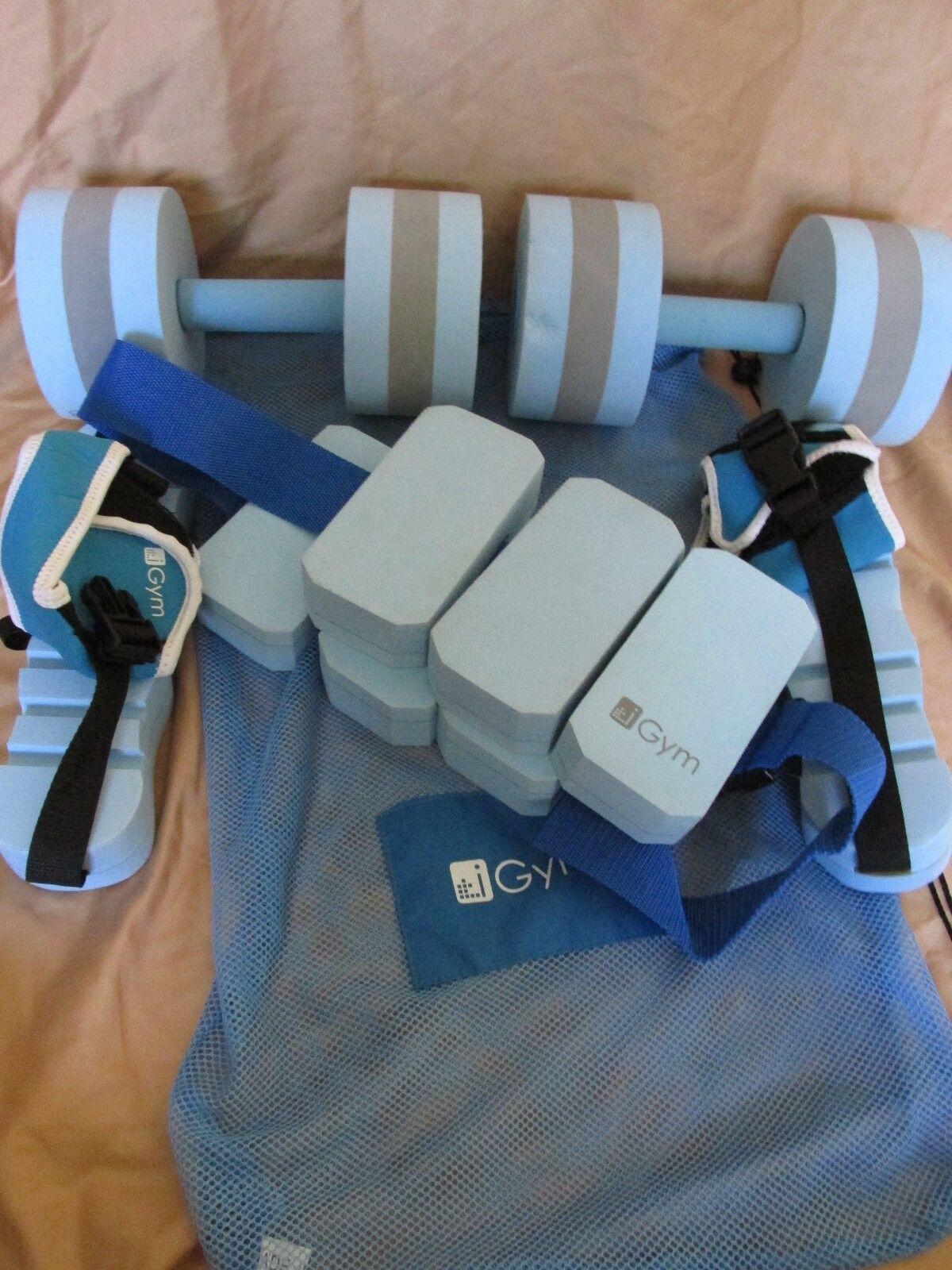 IGym Aqua Fitness Set - Blau Foam - DumbellsBeltCarrying TascheAnkle Wraps