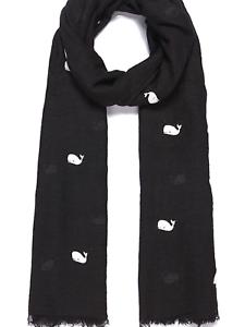 Black flocked textured Whale Scarf animal Throw scarves shawl Wrap present gift