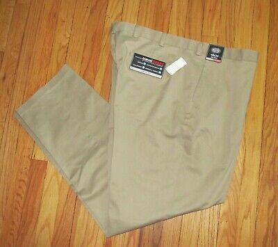 54 NWT Roundtree Men Gray Brown Flat Travel Smart Pants 44 50 46 48 52