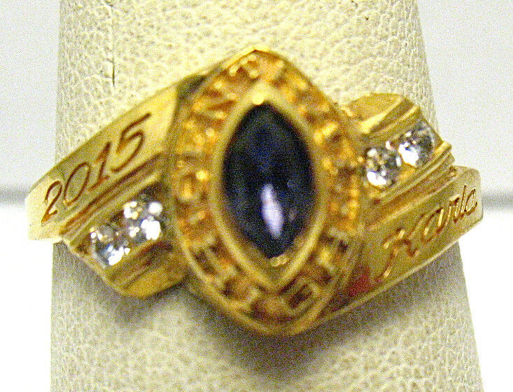 gold CENTRAL HIGH SCHOOL AMETHYST CLEAR STONE RING BALFOUR SIZE 7.25 SYBOLL