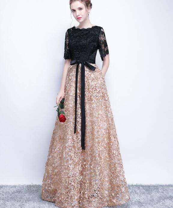 High-end Women Lace Wedding Half Sleeve Splice Flowers Evening Ball Gown Dress m