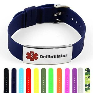 Image Is Loading Idtagged Silicone Medical Alert Defibrillator Polished Steel Tag