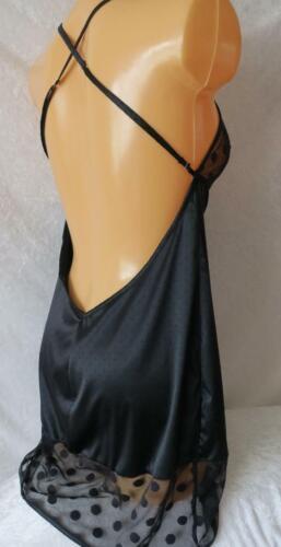 LADIES BLACK CHEMISE LACY SILKY NIGHT DRESS WEAR NIGHTIE X STRAPS UK M 12 BNWOT